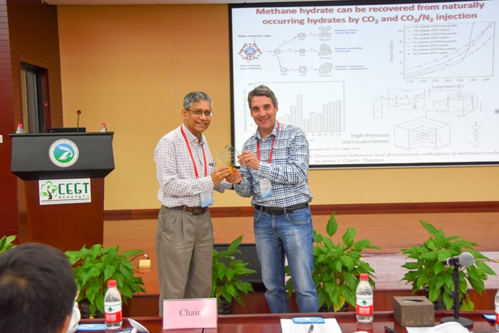 "Nicolas von Solms pictured with Prof Santanu Bhattacharya of the ""Indian Association for the Cultivation of Science"""